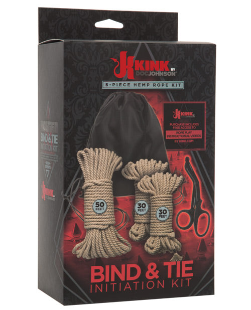 Kink Bind & Tie Initiation Hemp Rope Kit - 5 pc Kit