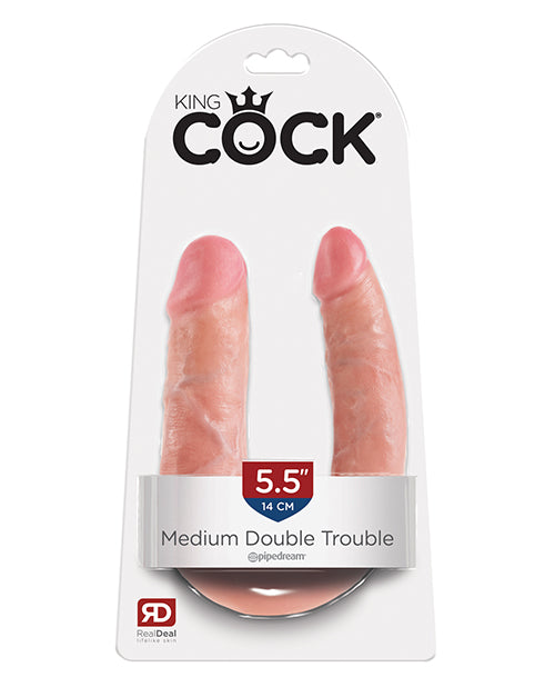 King Cock Medium Double Trouble - Flesh
