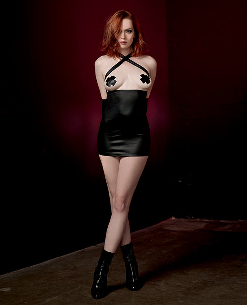 Fetish Strtch Knit Faux-Leather Chemise w/Adjstble Strps & Attached Zip Up Arm Rstraint Blck O/S