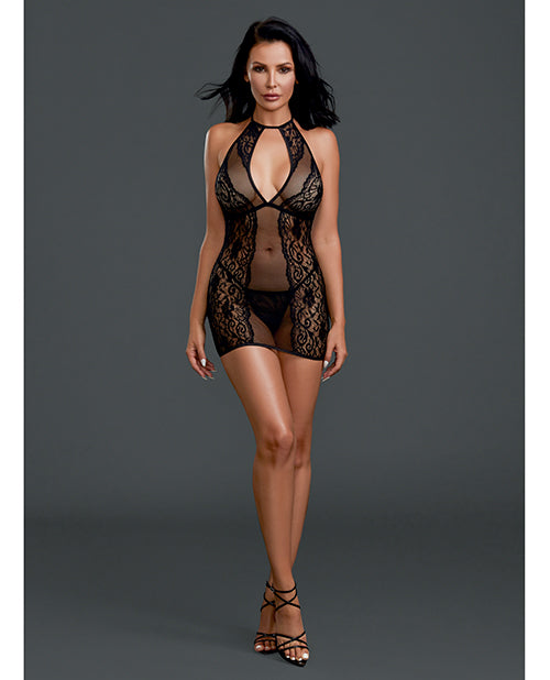 Sheer Lace Chemise w/G-String Black