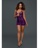 Ruched Sheer Front Zipper Chemise w/G-String Plum