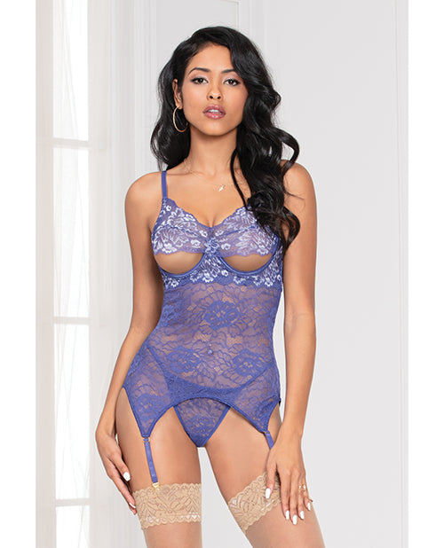 Cross Dye Lace Peek a Boo Chemise w/Attached Garters & G-String Iris O/S