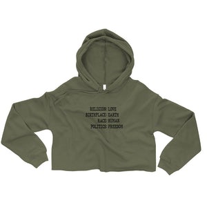 LOVE EARTH HUMAN FREEDOM Crop Hoodie