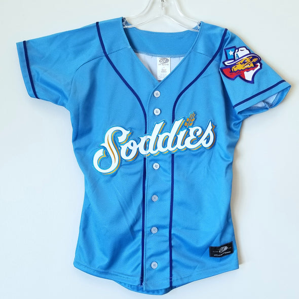 Amarillo Sod Poodles PERSONALIZED YOUTH Sky Blue Iron-On Patch Replica Alternative Home Jersey