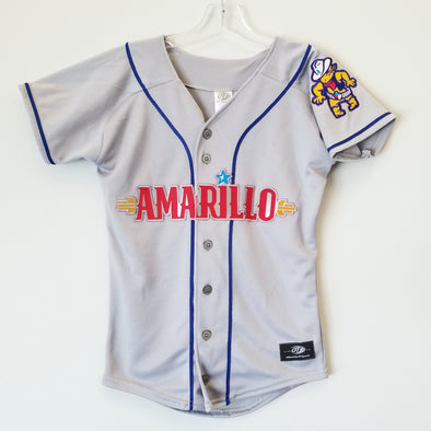 Amarillo Sod Poodles YOUTH Grey Iron-On Patch Replica Road Jersey