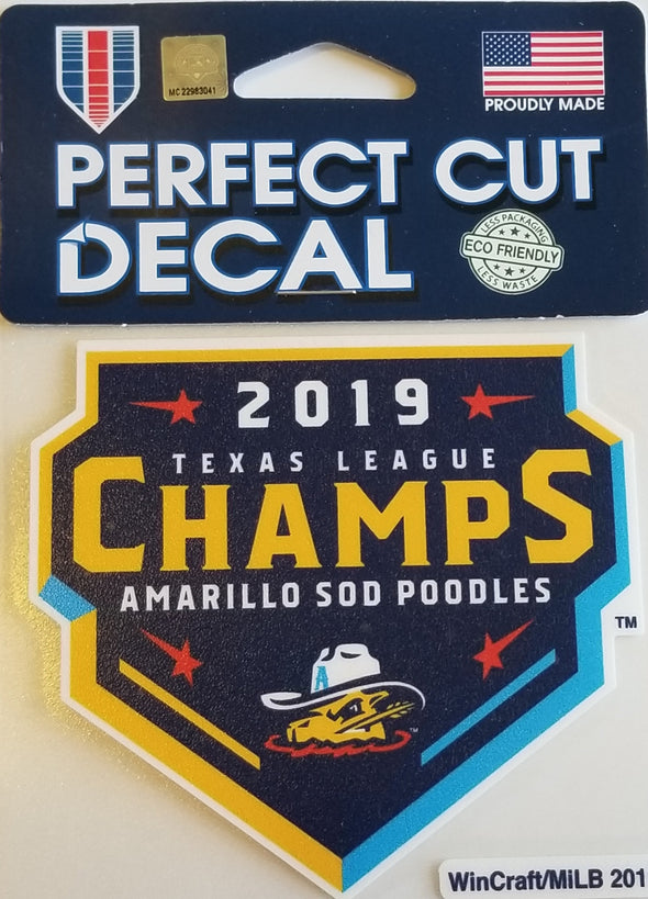Amarillo Sod Poodles 2019 Texas League Champions Decal