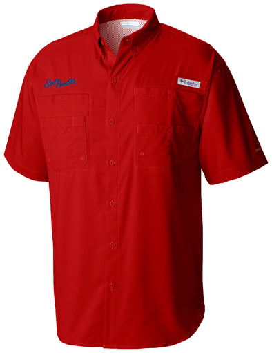 Amarillo Sod Poodles Columbia Men's Red Script PFG Fishing Shirt