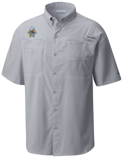 Amarillo Sod Poodles Columbia Men's Cool Grey Quick Draw PFG Fishing Shirt