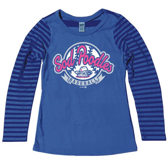 Amarillo Sod Poodles Youth Girls Cobalt Striped Long Sleeve Tee