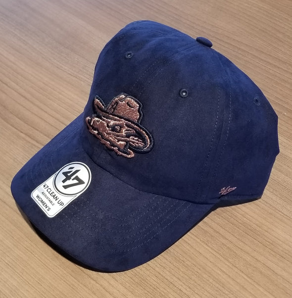 Amarillo Sod Poodles Navy Uptown Suede & Rose Gold Logo Women's '47 CLEAN UP Adjustable Cap