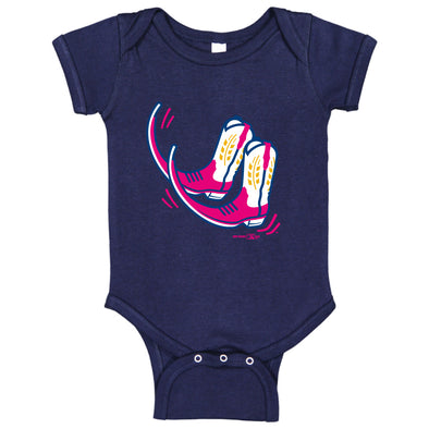 Pointy Boots de Amarillo Navy Infant Boots Bodysuit