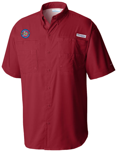 Amarillo Sod Poodles Columbia Men's Beet Crest PFG Fishing Shirt