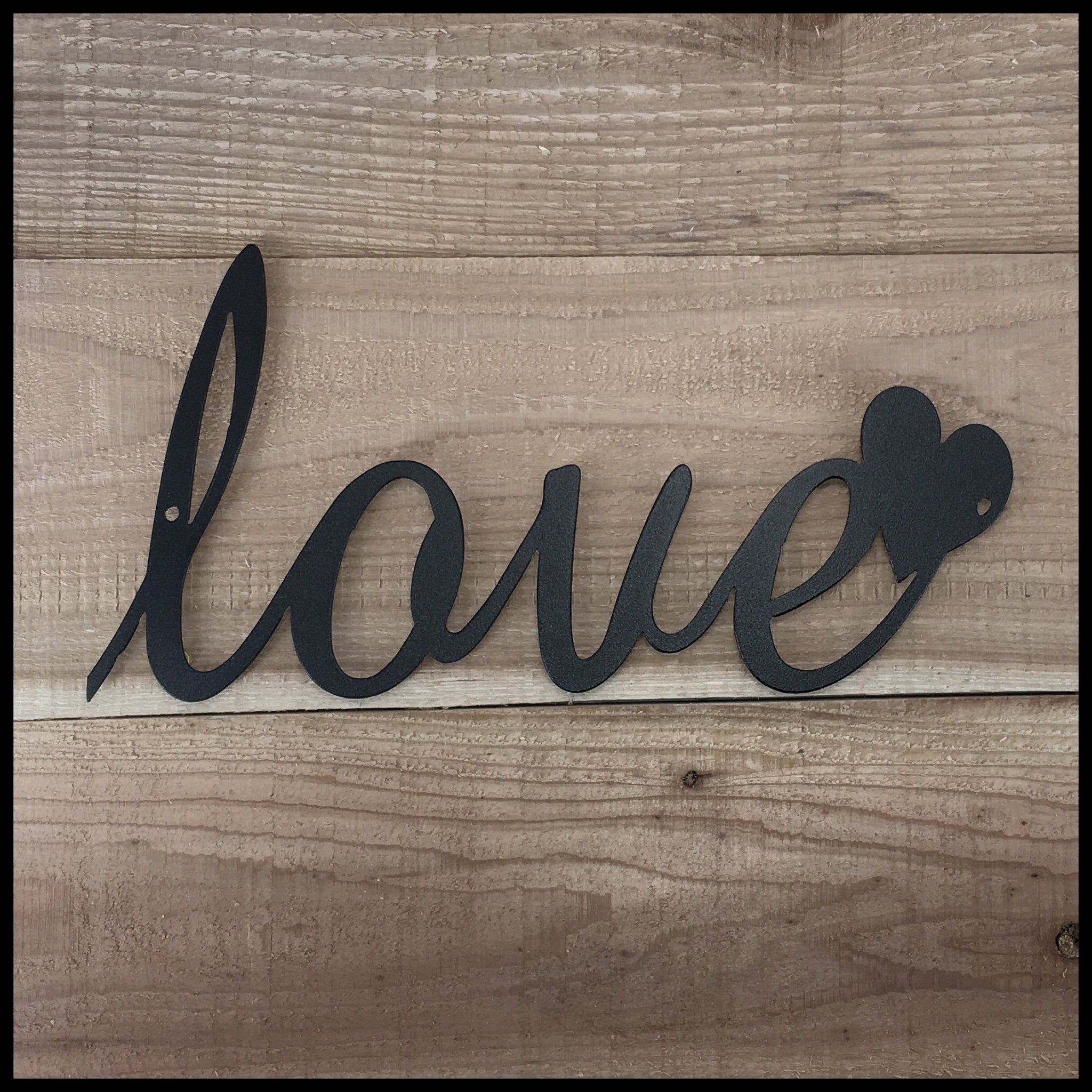 Love Heart Home Decor Steel Country 12 X 6 Black