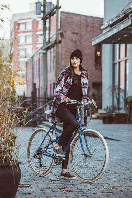 Olena Russell's curated picks for summer cycling for Le Velo Victoria featuring Dish Skinny Denim