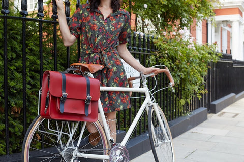 Bold and Adventurous Birty Red Leather Pannier available at Le Velo Victoria