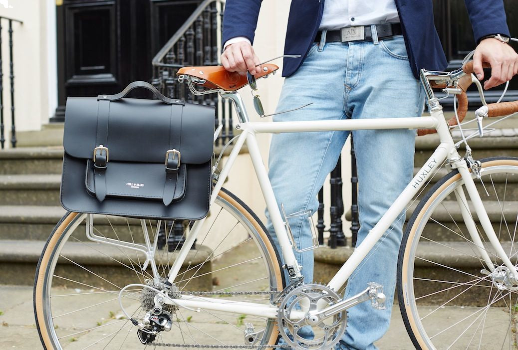 Byron Black Leather Pannier for the cyclist in your life!