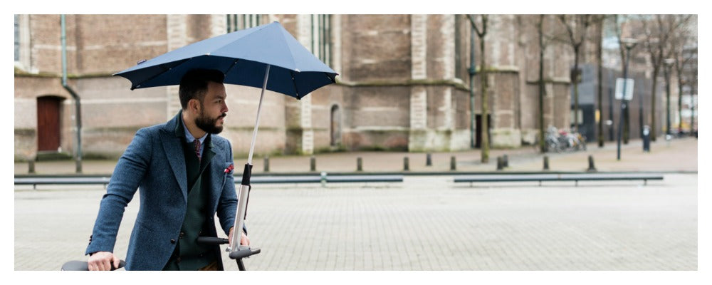 Senz umbrella & holder available at Le Velo Victoria