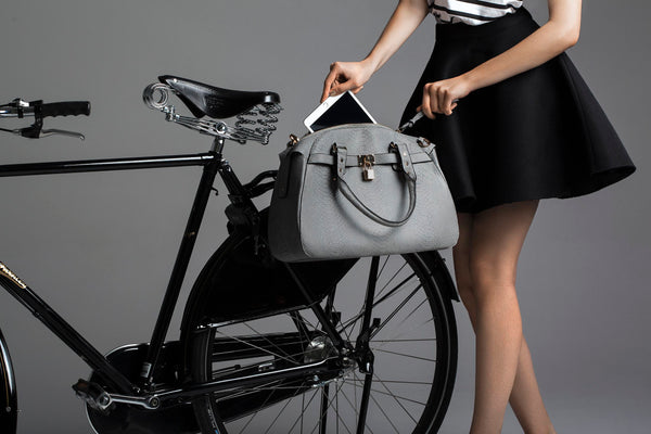 Dream eco-leather handbag easily attaches to the rear rack of your bicycle. Available at Le Velo Victoria