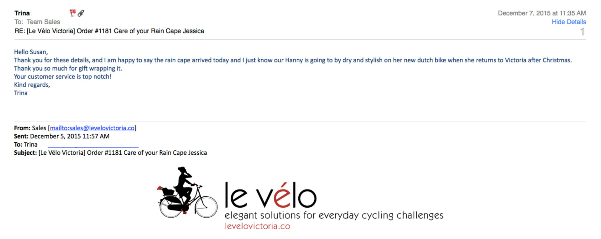Customer testimonial at le velo victoria for HappyRainydays rain capes and ponchos
