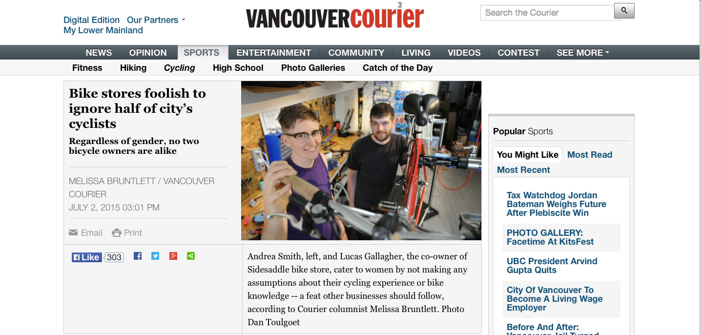 Le Velo Victoria in Vancouver Courier article: Bike Stores foolish to ignore half of city's cyclists