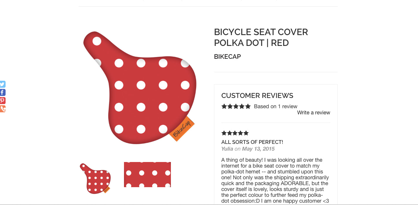 Bicycle Seat Cover Red Polka Dot at Le Vélo Victoria