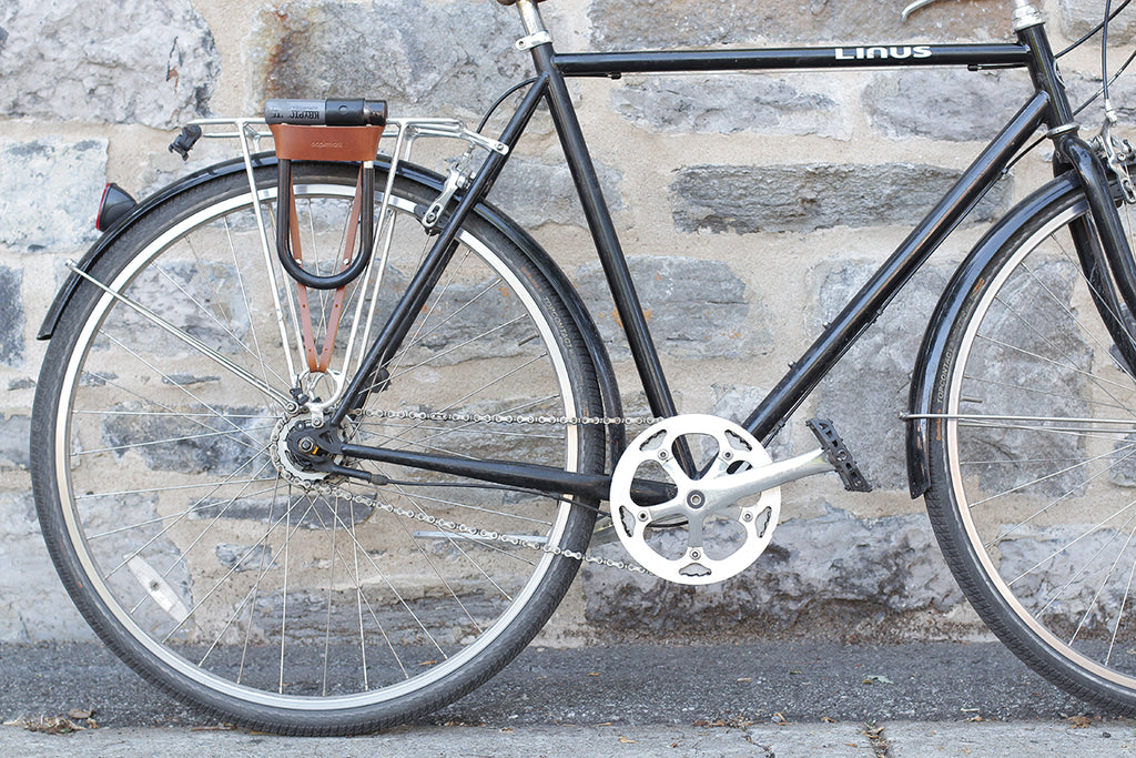 Leather U-lock holder available at Le Velo Victoria