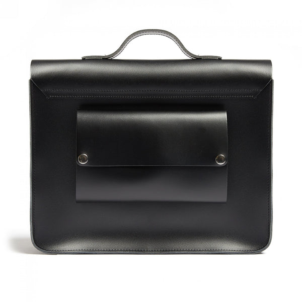 Hill and Ellis Byron Black Leather Satchel back view