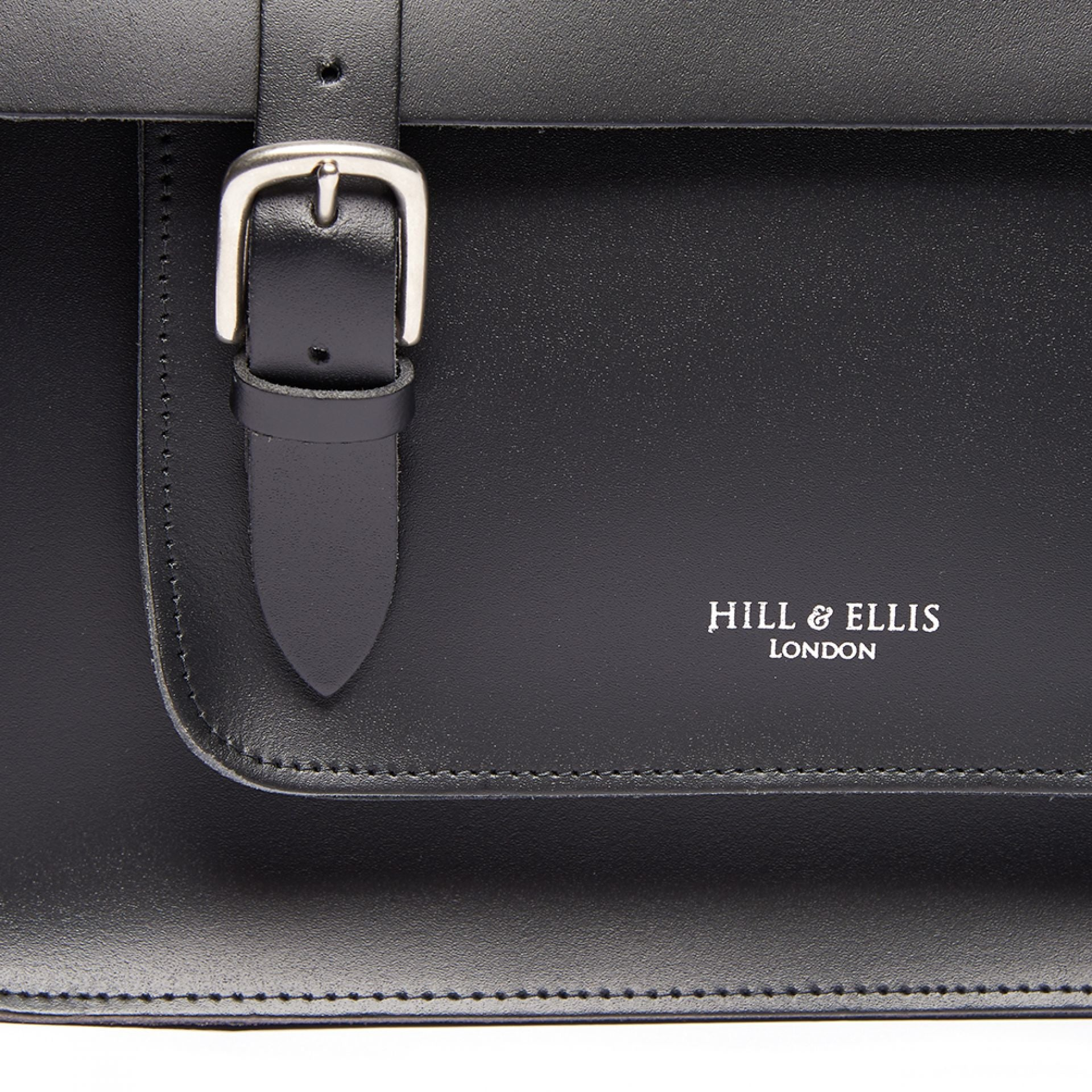 Hill and Ellis Byron Black Leather Satchel view of buckle