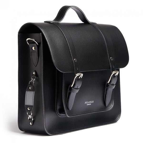 Hill and Ellis Byron Black Leather Satchel side view