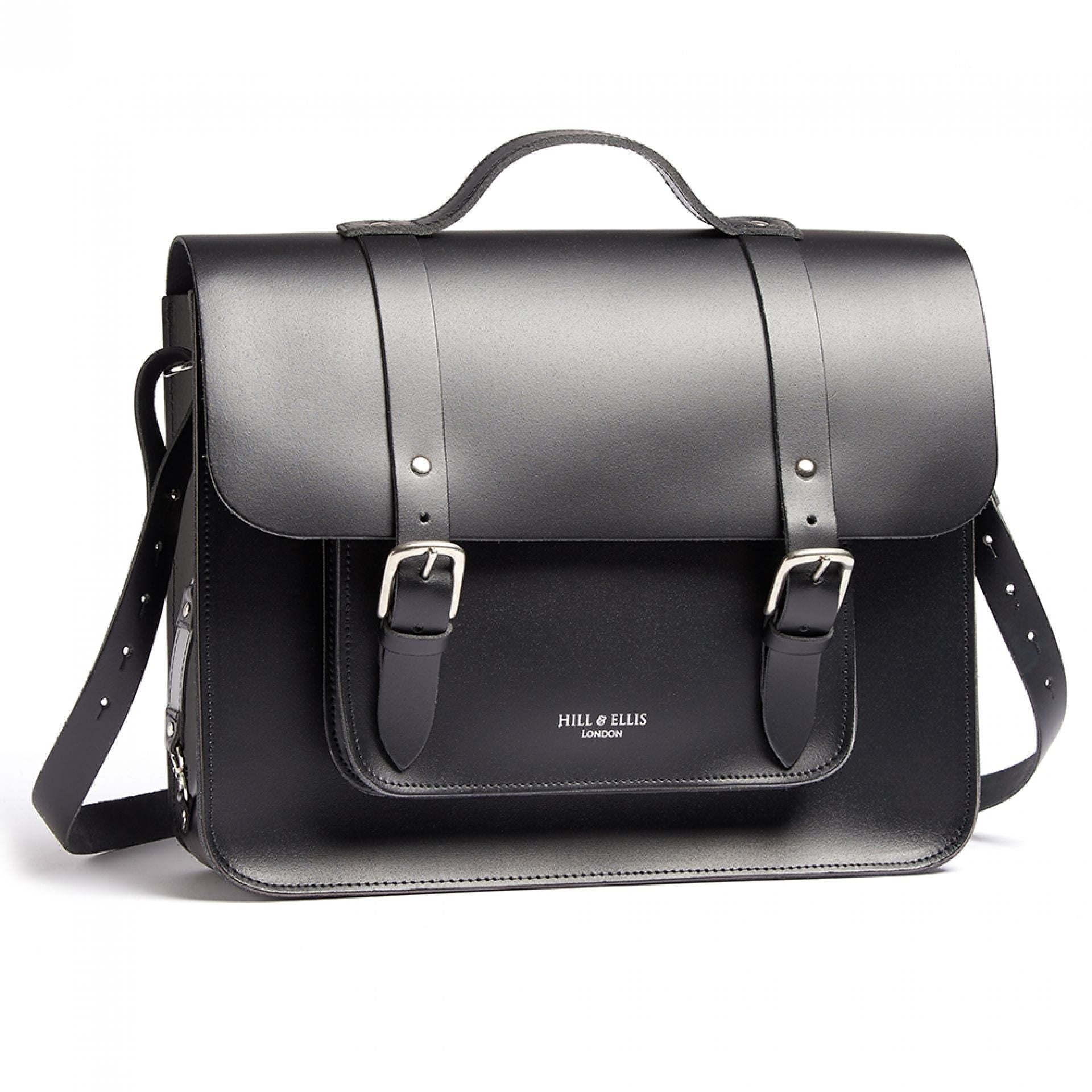 Hill and Ellis Byron Black Leather Satchel front view