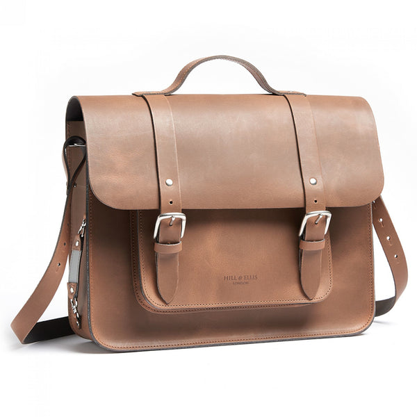 Mac Whiskey Tan Leather Pannier side angle showing shoulder strap