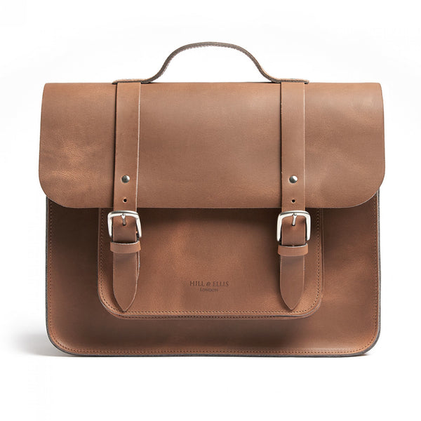 Hill and Ellis Mac Whiskey Tan Leather Pannier front