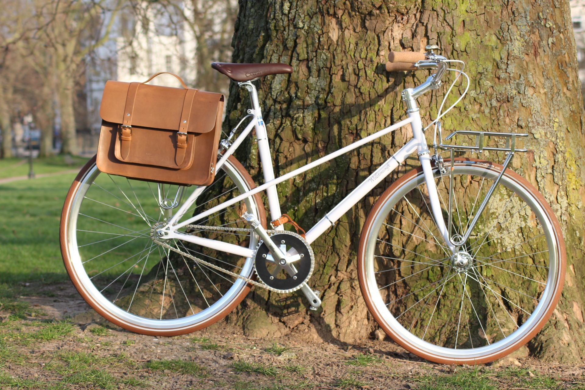 Mac Whiskey Tan Leather Pannier on a bicycle