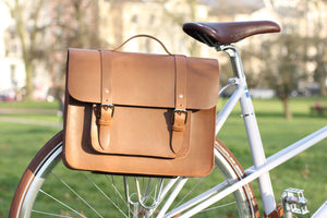 Hill and Ellis Mac Whiskey Tan Leather Pannier on a bicycle