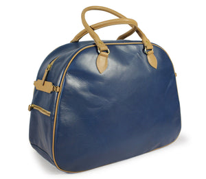 Hill and Ellis Birkdale Blue leather pannier front view