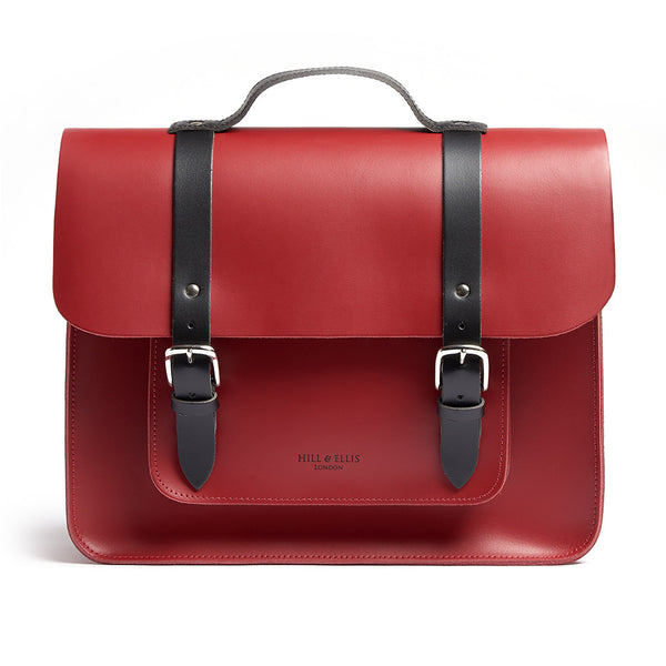 Hill and Ellis Birtie Red Leather Pannier front view