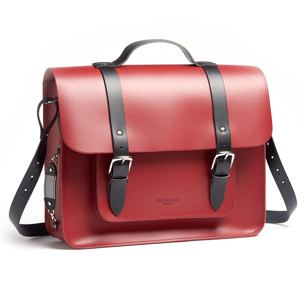 Hill and Ellis Birtie Red Leather Pannier side view showing shoulder straps