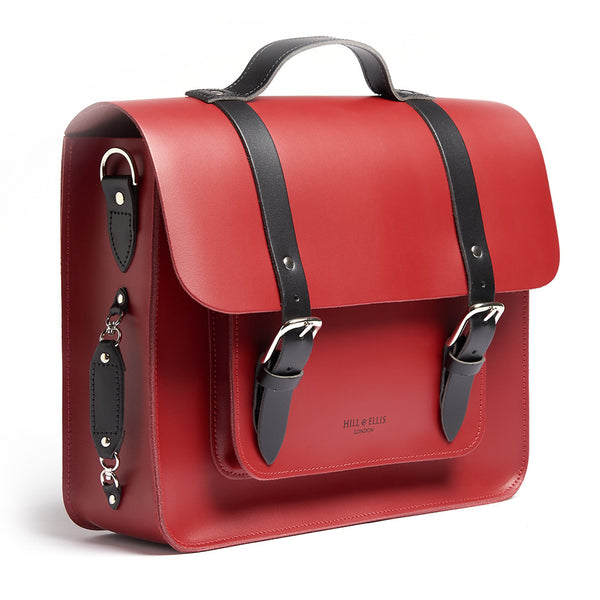 Hill and Ellis Birtie Red Leather Pannier side view
