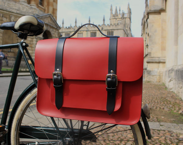 Hill anEllis Birtie Red Leather Pannier on a bicycle