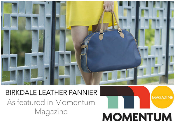 Hill and Ellis Birkdale Blue leather pannier with model