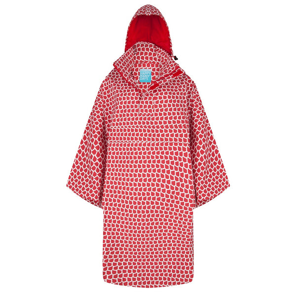 Rain Capes red and white available at Le Velo Victoria