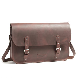 Dark Brown Leather City Bag for a Brompton Bicycle