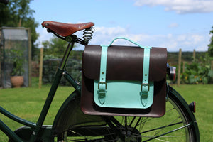 Don - Dark Brown & Cambridge Blue Leather Pannier