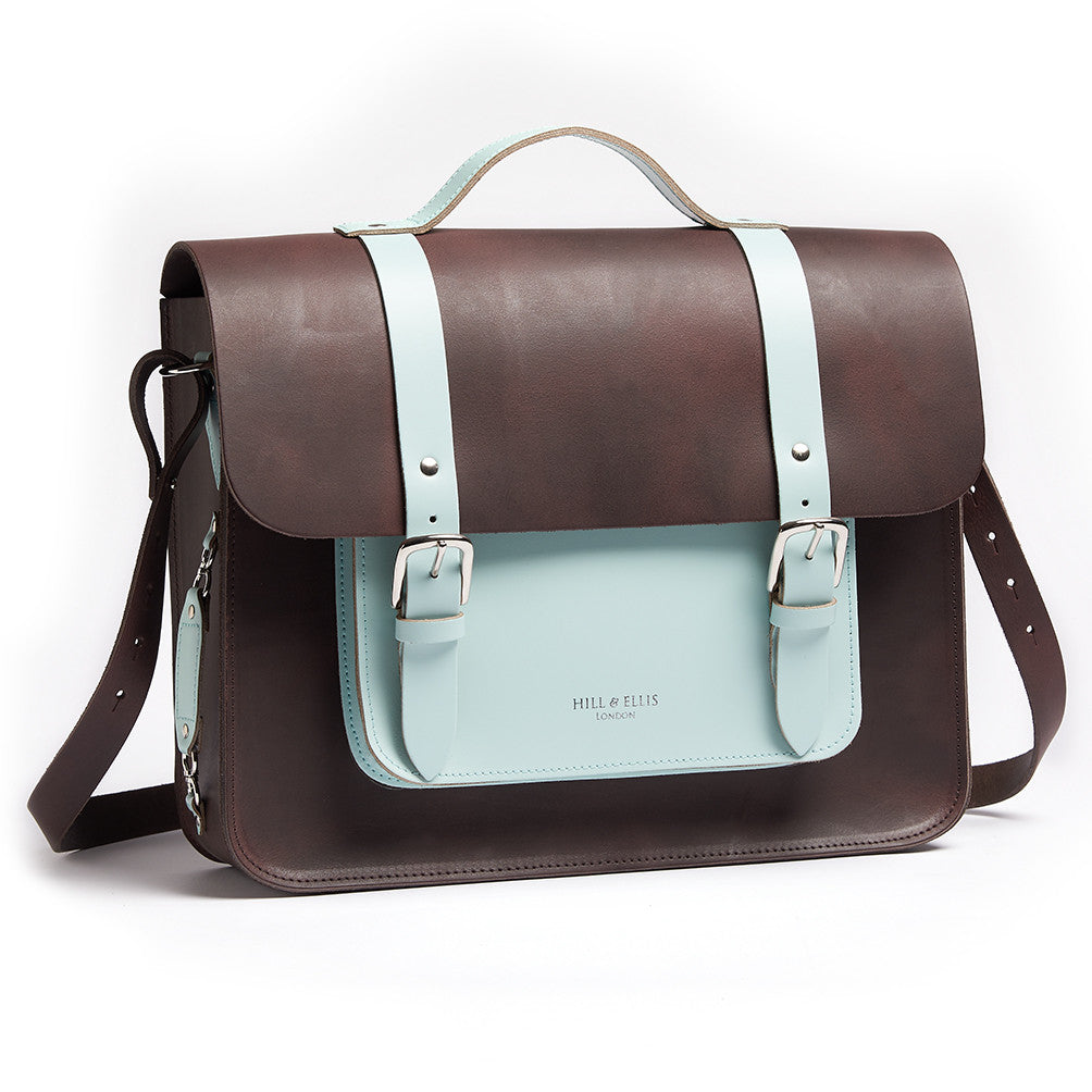 Don Dark Brown and Cambridge Blue Leather Panner side view