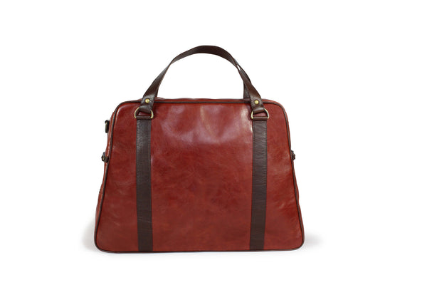 Hill and Ellis Duke Cherry Red Leather Satchel front view