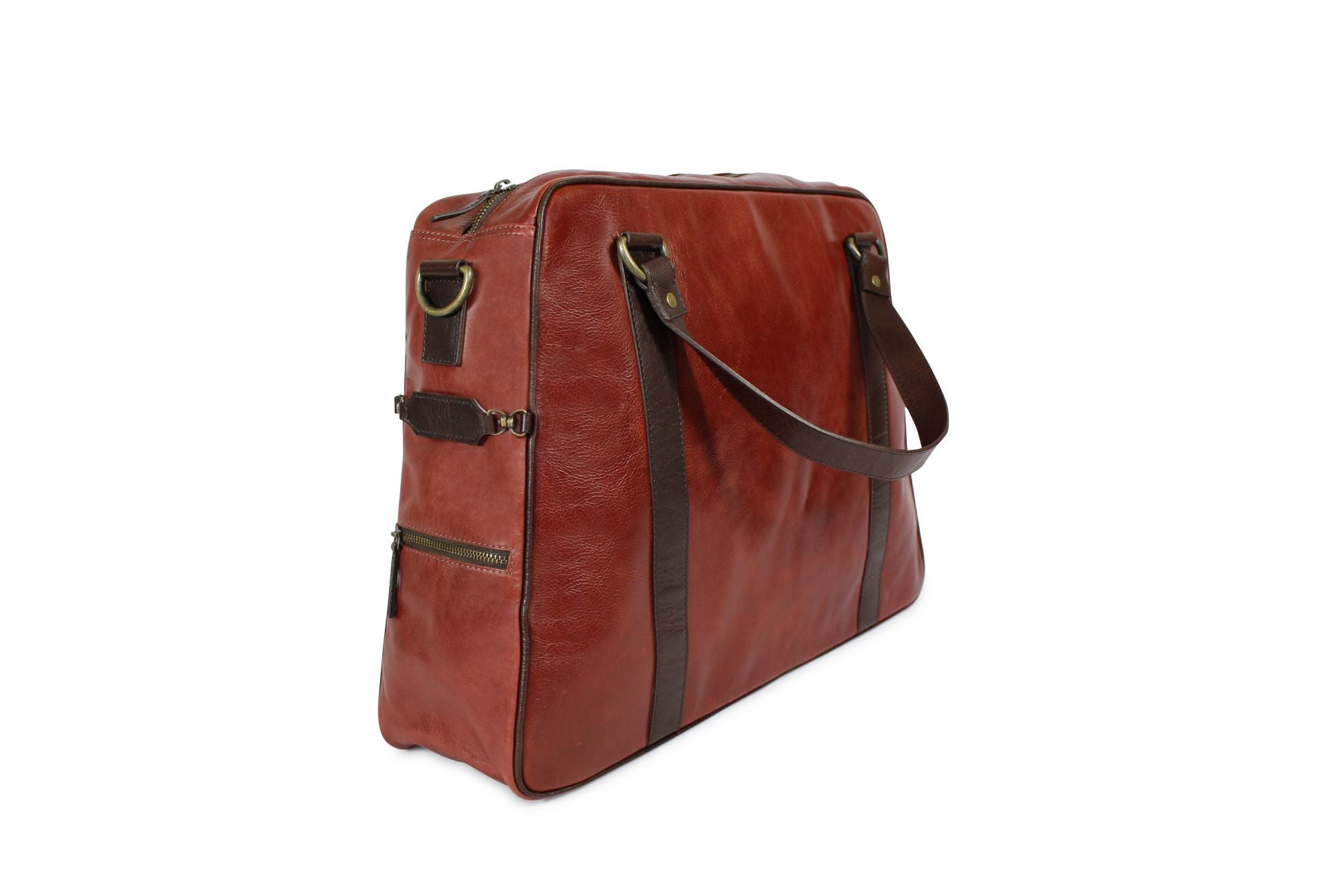 Hill and Ellis Duke Cherry Red Leather Satchel side view