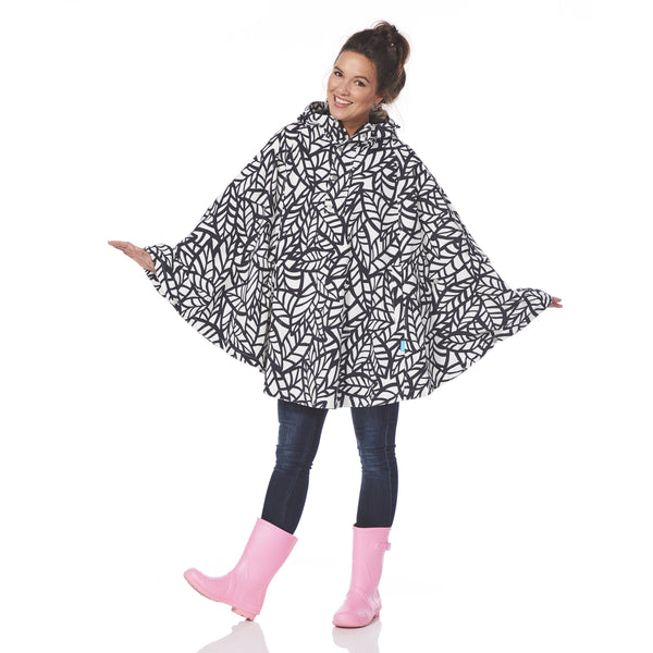 Rain Poncho | Bora Leaf Black & White