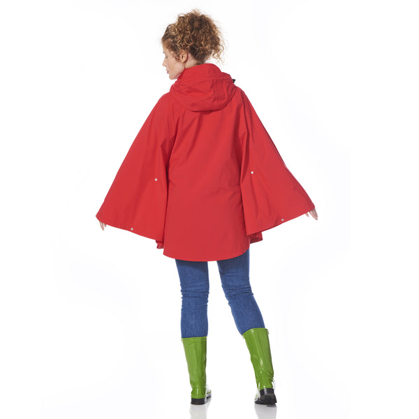 Red Rain Poncho waterproof with model showing back
