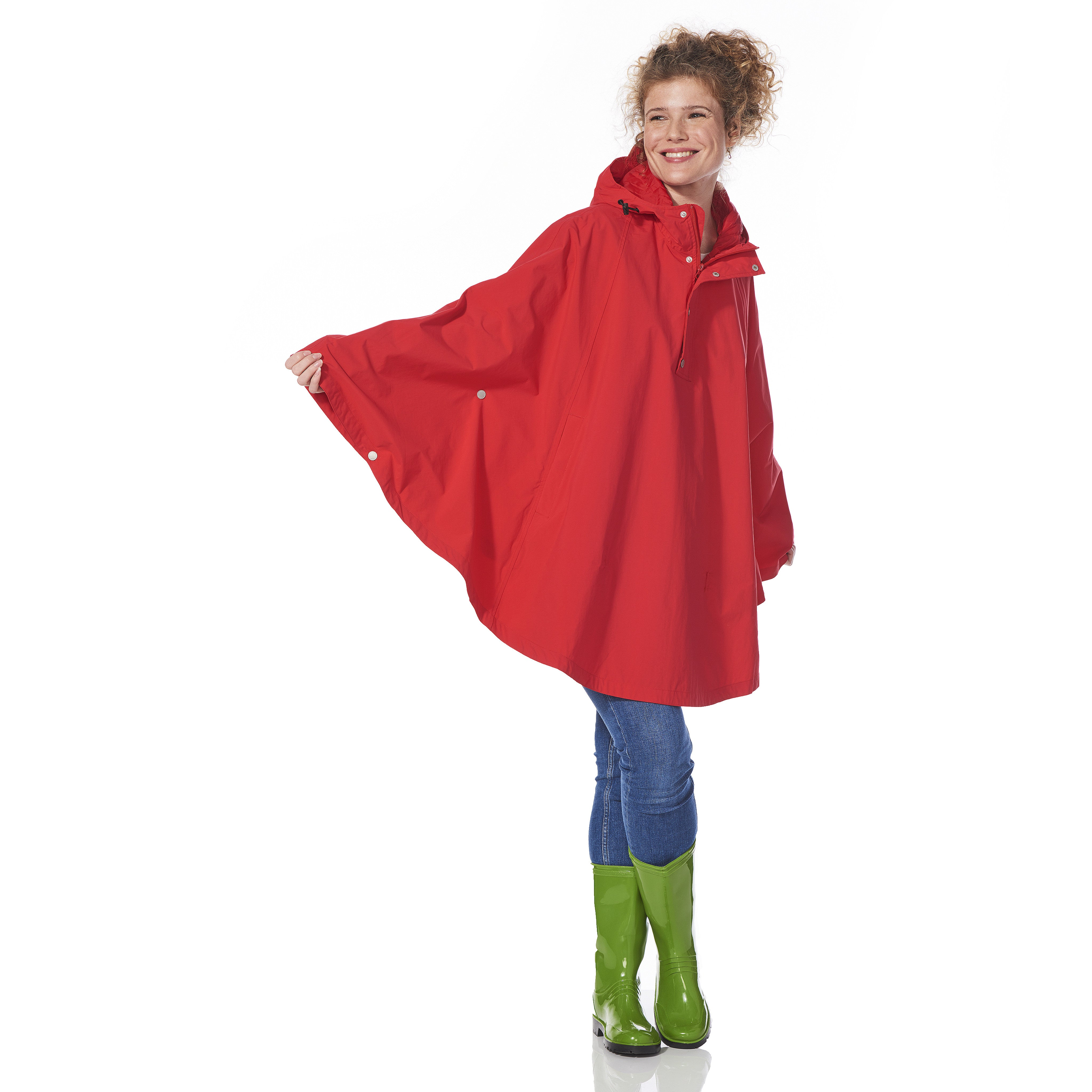 Red Rain Poncho waterproof with model