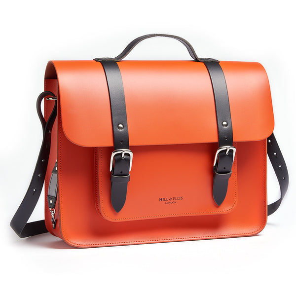 Dutch Orange Leather Pannier side view